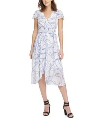 dkny printed layered-sleeve midi dress