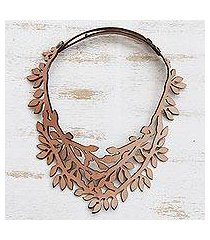 leather collar necklace, 'brazilian foliage in almond' (brazil)