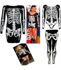 ladies women halloween skeleton skull bones print bodycon tunic dress costume