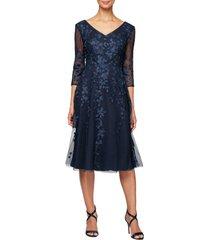 women's alex evenings v-neck embroidered mesh cocktail dress, size 12 - blue