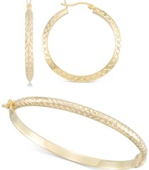 2-pc. set medium textured hoop earrings & matching bangle bracelet in 14k gold over sterling silver