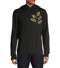 leaf embroidery fleece hoodie