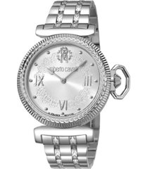 roberto cavalli by franck muller women's swiss quartz silver stainless steel bracelet watch, 38mm