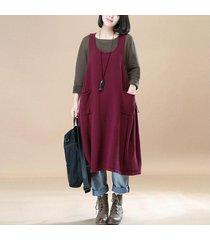 zanzea más el tamaño de las mujeres sin mangas flojas general peto maxi vestido claret -rojo