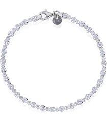 bracciale in argento rodiato e zirconi per donna