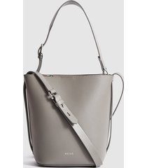 reiss hudson mini - leather mini bucket bag in grey, womens