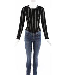 alaia black striped long sleeve bodysuit black sz: s
