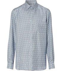 blue monogram print silk twill shirt