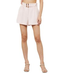 bcbgmaxazria solid pleat-front belted shorts