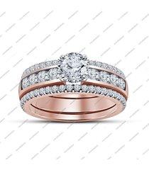1.55 ct women's sim diamond trio engagement wedding ring set 10k rose gold fn.