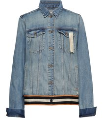 blue over d trucker jacket - dock a dots jeansjack denimjack blauw scotch & soda