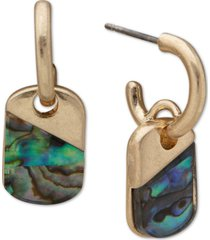 lonna & lilly gold-tone abalone charm c-hoop earrings