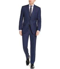 marc new york by andrew marc men's slim-fit stretch blue birdseye suit