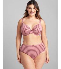 lane bryant women's cotton high-leg brief panty 34/36 rose stripes