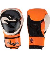 luvas de boxe naja colors flúor - 14 oz - adulto - laranja/preto