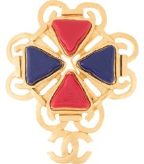 chanel pre-owned 1995 spring cc brooch - gold