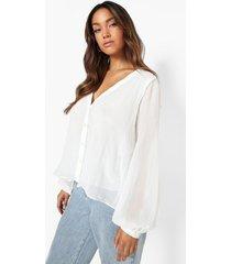 blouse met lange mouwen en diep uitgesneden decolleté, white