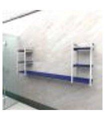 prateleira industrial banheiro aço cor branco 180x30x68cm (c)x(l)x(a) cor mdf azul modelo ind30azb