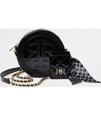 river island womens black circle embossed double pouch bag