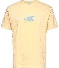 nb athletic printed tee t-shirts short-sleeved gul new balance