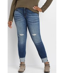 maurices plus size jeans womens kancan™ destructed cuffed skinny jeans blue