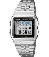 relógio casio a500wa-1df prata - kanui