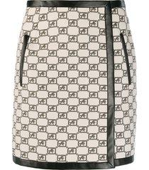 alberta ferretti a-line logo mini skirt - neutrals