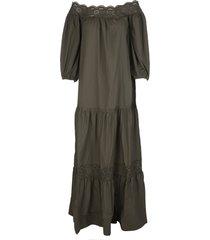 parosh khaki green canyon maxi dress