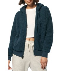 marc new york performance women's hooded teddy fleece jacket - dusty teal - size m