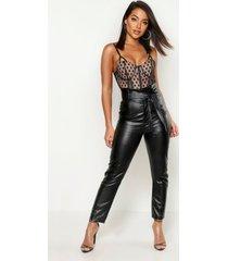 nepleren broek met hoge geplooide taille, zwart