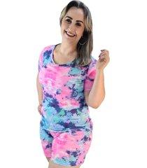 pijama feminino tie dye plus size - multicolorido - feminino - dafiti