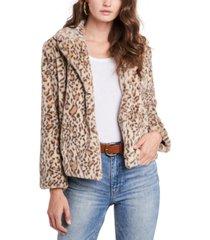1.state faux-fur leopard-print jacket