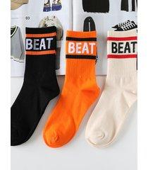 calcetines estampados con letras suaves informales de moda para hombre