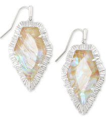 kendra scott rhodium-plated iridescent abalone drop earrings