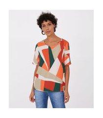 blusa t shirt estampas geometricas | marfinno | laranja | pp