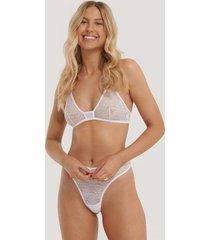 na-kd lingerie v-stringtrosa i spets med hög midja - white
