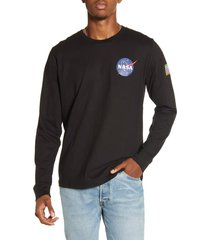 men's alpha industries space shuttle long sleeve t-shirt, size x-large - black