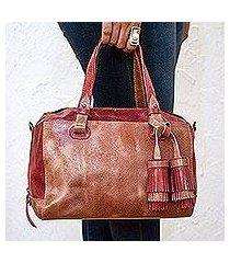 leather travel bag, 'tasseled traveler in claret' (mexico)