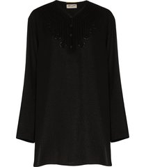 saint laurent appliqued silk-blend voile tunic - black