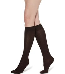 calzedonia long ribbed socks with cotton and cashmere woman brown size 36-38
