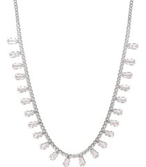 baguette cubic zirconia bib necklace