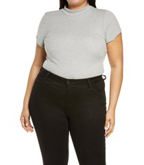 plus size women's bp. mock neck bodysuit, size 2x - grey