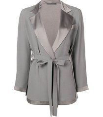 alberta ferretti belted tailored jacket - grey