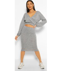 soft rib wrap over button top and midi skirt, grey