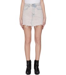 'bite' distressed hem acid wash denim skirt
