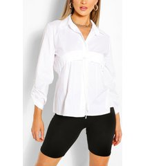 oversized blouse met ruches, wit