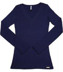 blusa via costeira com renda laço em manga longa feminina