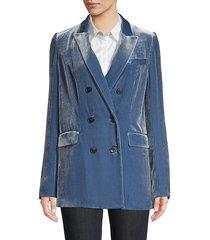 lafayette 148 new york women's slade double-breasted velvet blazer - hazy peri - size 4