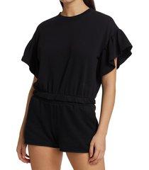 alice + olivia women's joline ruffle-sleeve crop sweatshirt - black - size s