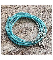 silver wrap bracelet, 'amazing elephant in sky blue' (thailand)